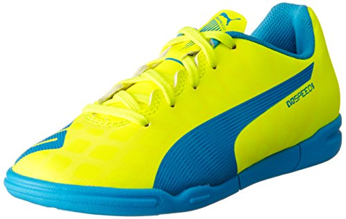 Puma evoSPEED 5.4 IT Jr, Unisex-Kinder Hallenschuhe, Gelb (safety yellow-atomic blue-white 04), 38.5 EU (5.5 Kinder UK)