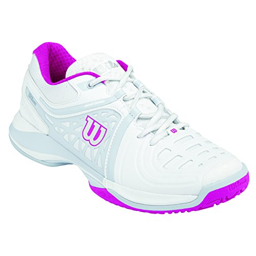 Wilson Nvision Elite Woman, Damen Tennisschuhe, Mehrfarbig (White/Pearl Grey/Fiesta Pink), 41 EU (7 Damen UK)