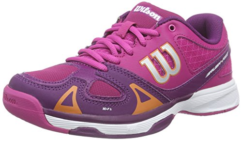 Wilson RUSH PRO JR, Unisex-Kinder Tennisschuhe, Mehrfarbig (FIESTA PINK WILSON/DARK PLUMBERRY/CLEMENTIN), 38 1/3 EU (5 Kinder UK)
