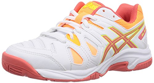 Asics Gel-game 5 Gs, Unisex-Kinder Tennisschuhe, Weiß (white/hot Coral/nectarine 0106), 39 EU