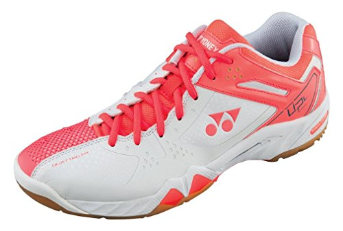 YONEX SHB-02LX Badmintonschuhe Damen, Weiß/Koralle, 42