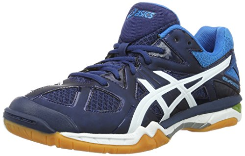 Asics Herren Gel-Tactic M Volleyballschuhe, Blau (Poseidon/White/Safety Yellow), 41.5 EU