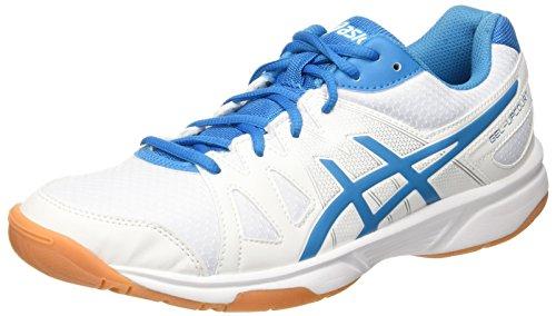 Asics Herren Gel-Upcourt Volleyballschuhe, Mehrfarbig (White / Blue Jewel / White), 47 EU