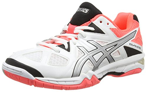 ASICS Gel-tactic, Damen Volleyballschuhe, Weiß (white/silver/flash Coral 0193), 38 EU