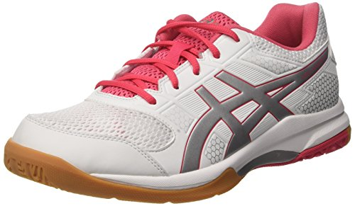 Asics Damen Gel-Rocket 8 Volleyballschuhe, Elfenbein (White/Rouge Red/Silver), 40.5 EU