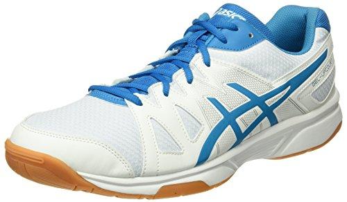 Asics Herren Gel-Upcourt Badminton Schuhe, Mehrfarbig (White / Blue Jewel / White), 49 EU