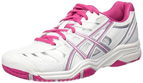 Asics Performance Gel-Challenger 9 Damen Tennisschuhe, weiß/pink/silber, EU 42 (US 10)