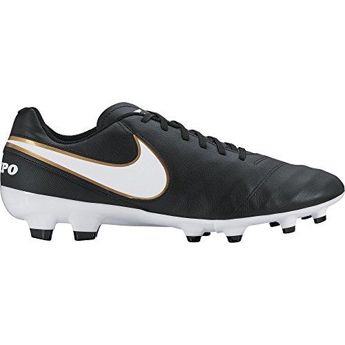 Nike Tiempo Genio II Leather FG, Herren Fußballschuhe, Schwarz (Black/White-Metallic Gold), 43 EU (8.5 Herren UK)