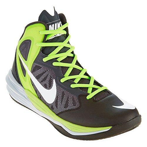 Nike Herren Prime Hype DF Basketballschuhe, Weiß / Schwarz / Grün (Schwarz / Weiß-Anthrazit-Volt), 44 1/2 EU