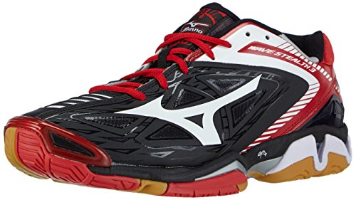 Mizuno Wave Stealth 3, Herren Handballschuhe, Schwarz (black/white/chinese red), 44.5 EU (10 Herren UK)