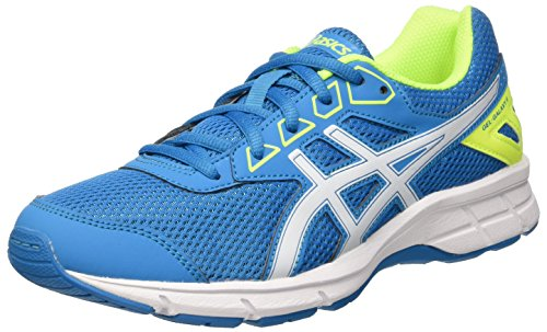 Asics Unisex-Kinder Gel Galaxy 9 Gs Laufschuhe, Mehrfarbig (Blue Jewel/White/Safety Yellow), 37.5 EU