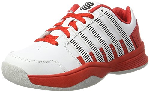 K-Swiss Performance Unisex-Kinder Court Impact Ltr Carpet Tennisschuhe, Weiß (White/Fiery Red/Black), 38 EU