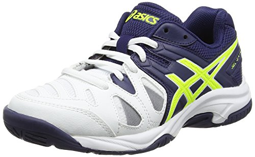 Asics Unisex-Kinder Gel-Game 5 GS Tennisschuhe, Weiß (White/Indigo Blue/Safety Yellow), 37.5 EU