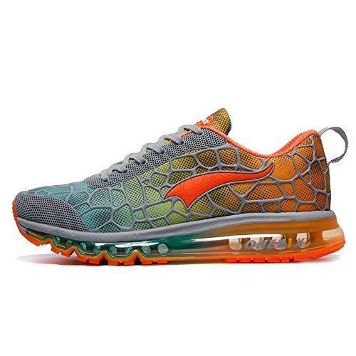 Onemix Herren Air Laufschuhe Sportschuhe mit Luftpolster Turnschuhe Leichte Schuhe Grau orange Größe 44 EU
