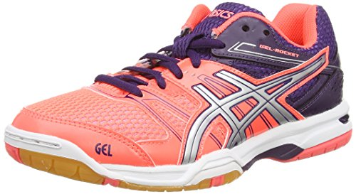 Asics Gel-rocket 7, Damen Volleyballschuhe, Rot (flash Coral/silver/darkberry 0693), 38 EU