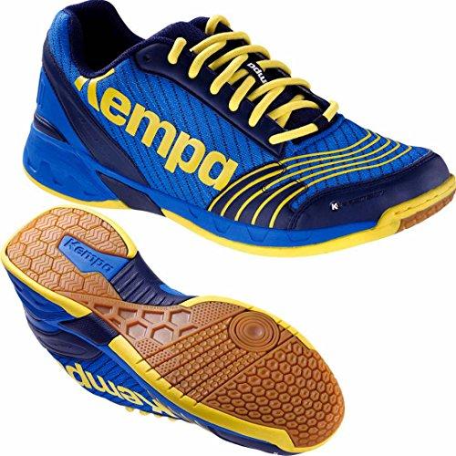 Kempa Handballschuhe Attack Hallenschuhe deep blau/limonengelb + Kempa Socken (45 ( UK 10,5 ))